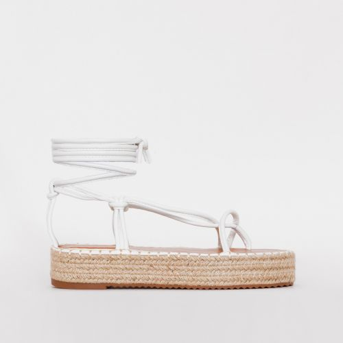 Frieda White Lace Up Espadrille Flatform Sandals