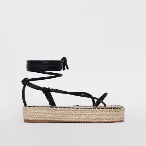 Frieda Black Lace Up Espadrille Flatform Sandals