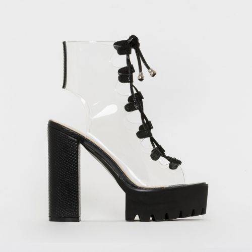 Aimee Black Snake Print Clear Lace Up Platform Heels