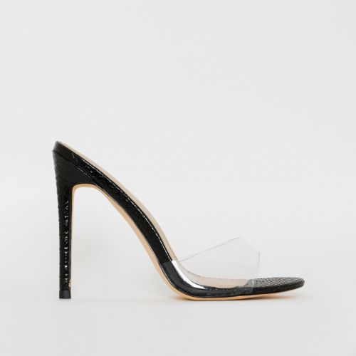 Jules Black Patent Snake Print Clear Stiletto Mules