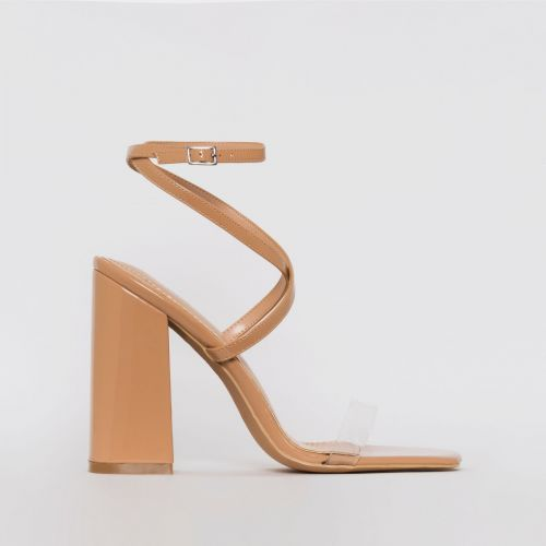 Blaise Nude Patent Strappy Block Heels
