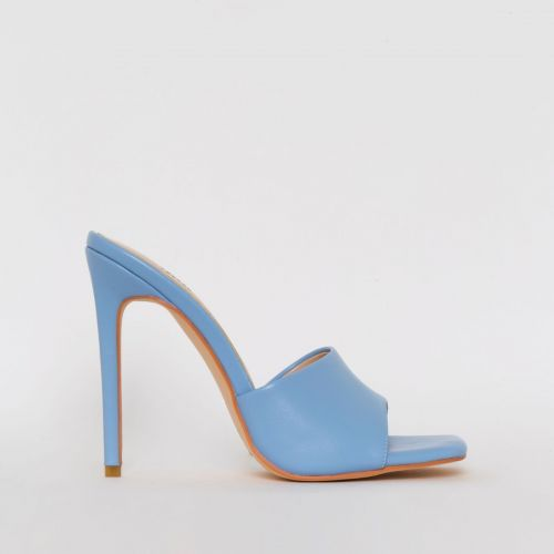 Amalie Blue Stiletto Mule Heels