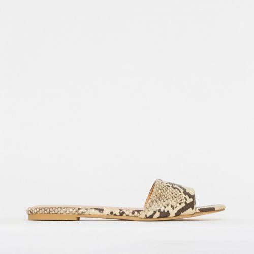 Zara Beige Snake Sliders