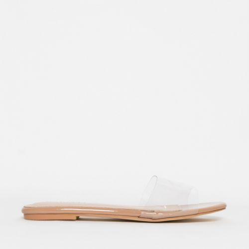 Zara Clear Nude Patent Sliders