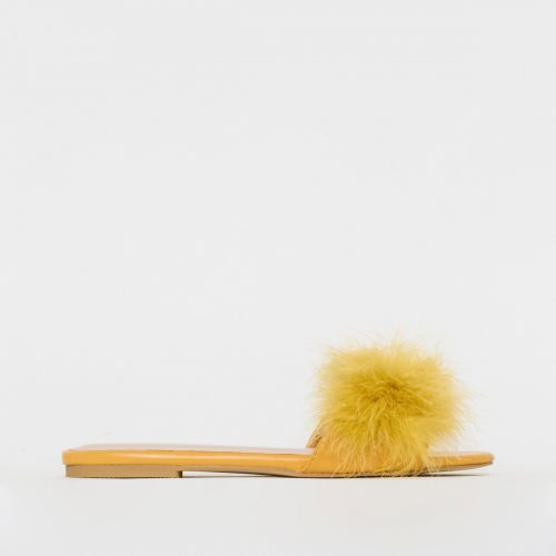 Maisie Yellow Fluffy Sliders