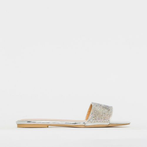 Isobel Silver Rainbow Diamante Sliders