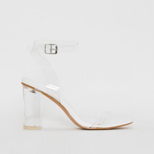 Kimana White Snake Print Clear Mid Block Heels