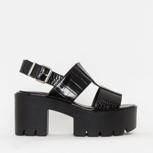 Adele Black Croc Print Chunky Platform Heels