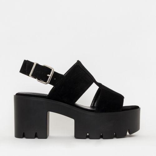 Adele Black Suede Chunky Platform Heels