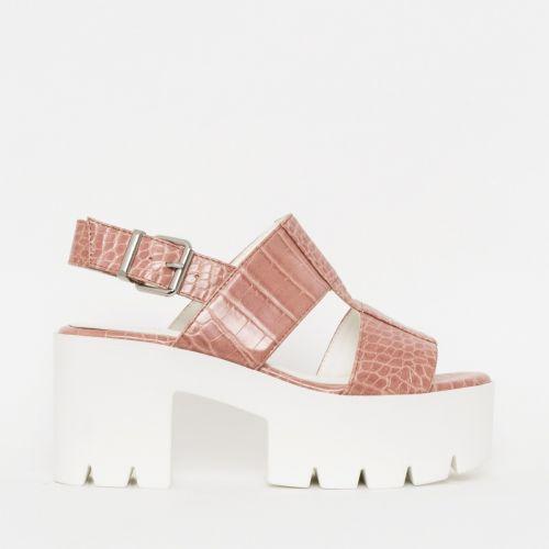 Adele Blush Croc Print Chunky Platform Heels
