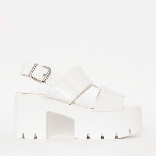 Adele White Croc Print Chunky Platform Heels