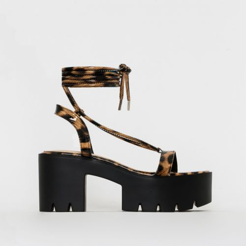 Ankea Leopard Print Patent Lace Up Chunky Flatforms