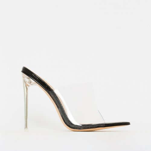 Amerie Black Patent Python Print Clear Mule Heels