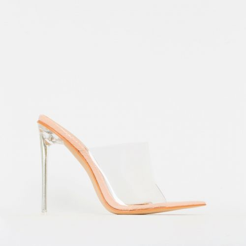 Amerie Nude Patent Python Print Clear Mule Heels