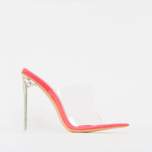 Amerie Pink Patent Python Print Clear Mule Heels