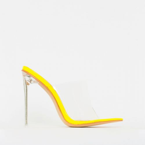 Amerie Yellow Patent Python Print Clear Mule Heels