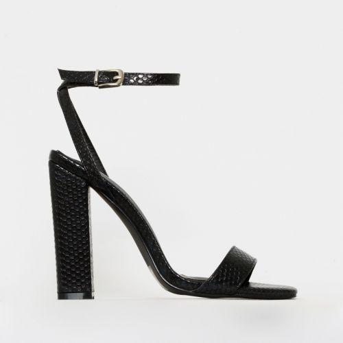 Angelica Black Snake Print Block Heels