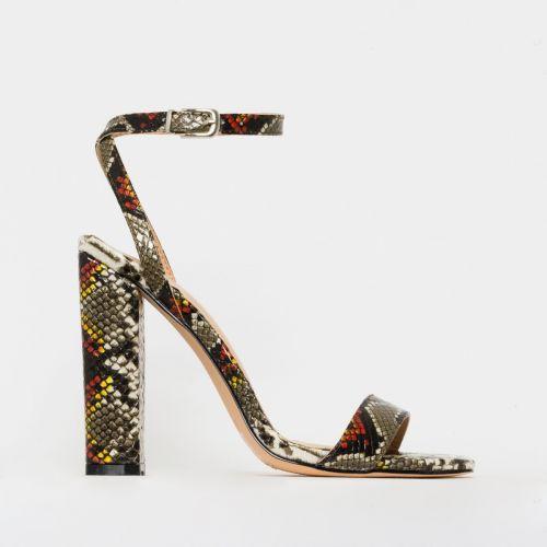 Angelica Multi Snake Print Block Heels