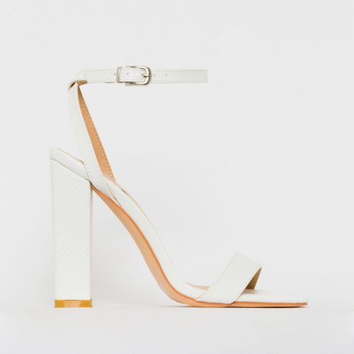 Angelica White Snake Print Block Heels