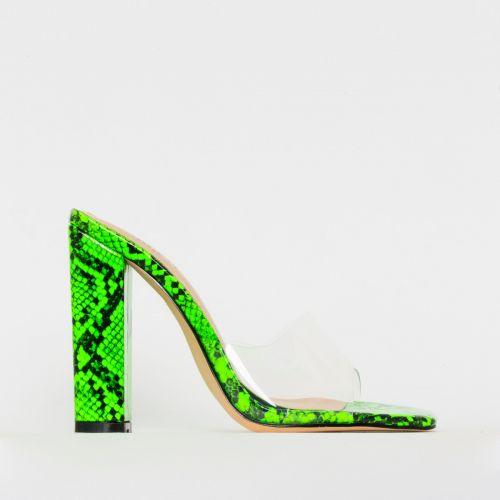 Alora Green Patent Snake Print Clear Block Heel Mules