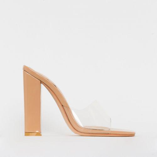 Alora Nude Patent Clear Block Heel Mules