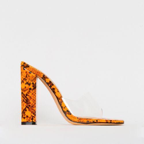 Alora Orange Patent Snake Print Clear Block Heel Mules