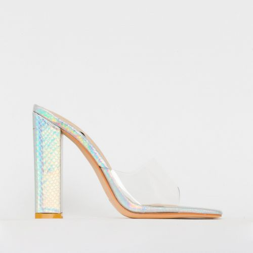 Alora Silver Iridescent Snake Clear Block Heel Mules