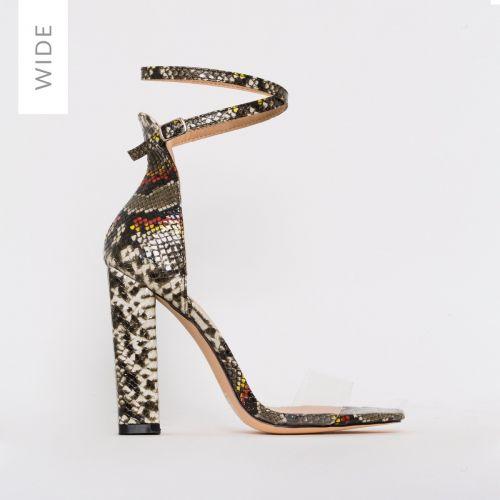 Fiona Wide Fit Beige Multi Snake Print Block Heels