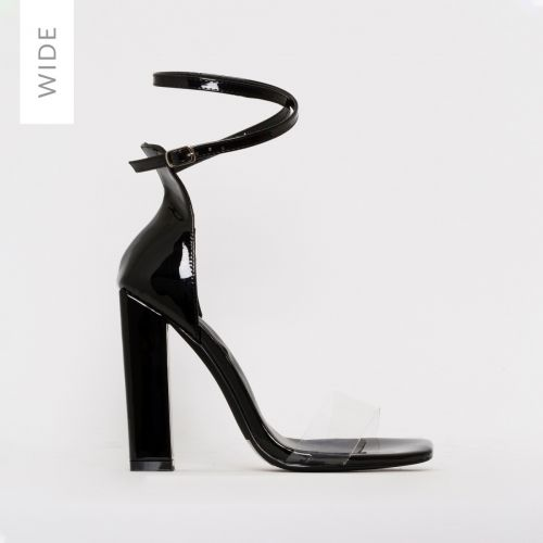 Fiona Wide Fit Black Patent Block Heels