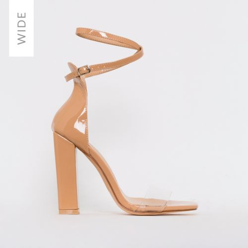 Fiona Wide Fit Nude Patent Block Heels
