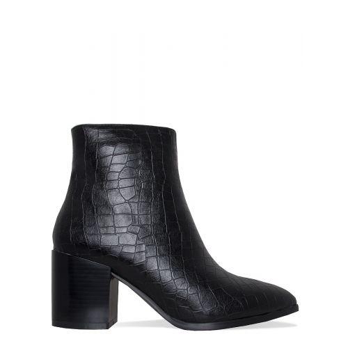 Anya Black Croc Block Heel Ankle Boots