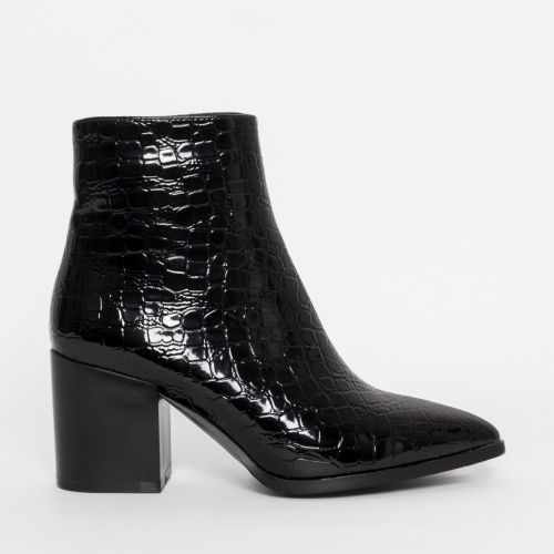 Anya Black Patent Croc Block Heel Ankle Boots