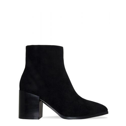 Anya Black Suede Block Heel Ankle Boots