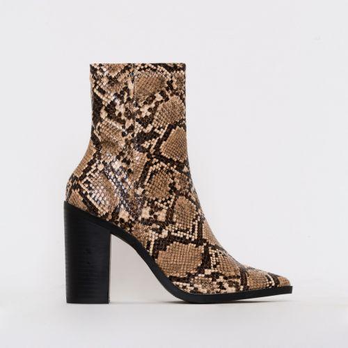 Ariva Beige Snake Print Block Heel Ankle Boots