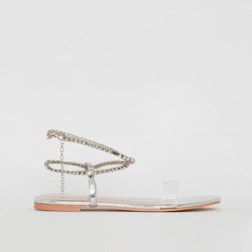 Diaz Clear Silver Snake Print Flat Sandals