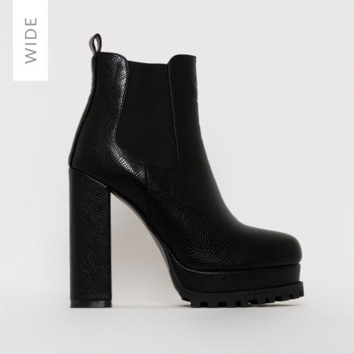 Aura Wide Fit Black Platform Ankle Boots