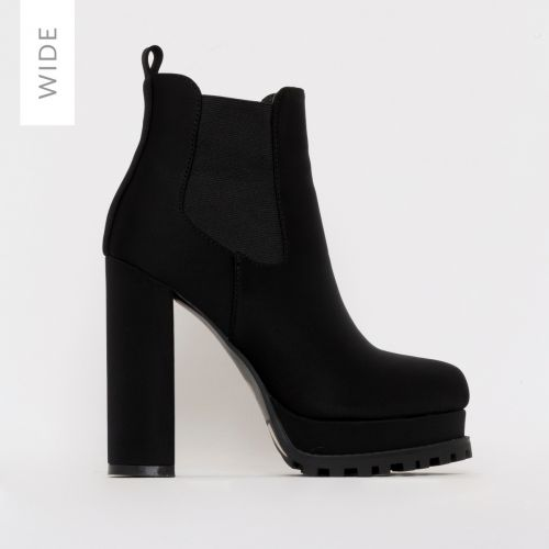Aura Wide Fit Black Suede Platform Ankle Boots