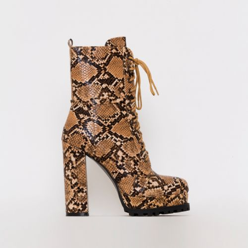 Vienna Beige Snake Print Lace Up Platform Ankle Boots