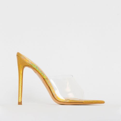 Ayla Clear Gold Iridescent Snake Print Stiletto Mules
