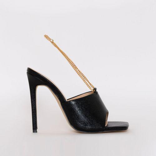 Jamila Black Snake Print Stiletto Mules