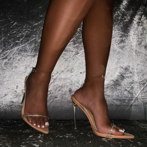 Molly Nude Patent Clear Diamante Stiletto Heels