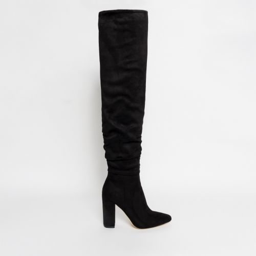 Bianca Black Suede Ruched Thigh High Boots