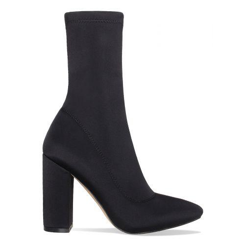 Rachelle Black Lycra Block Heel Boots