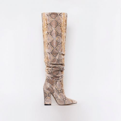 Eden Beige Python Print Ruched Block Heel Thigh High Boots
