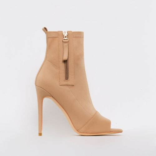 Avril Nude Lycra Peep Toe Ankle Boots