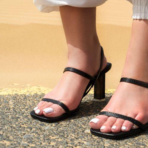 SONIA X FYZA Candy Black Lizard Print Block Heels