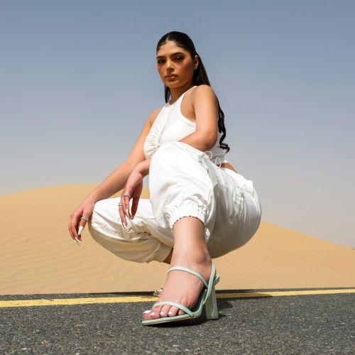 SONIA X FYZA Candy Green Block Heels