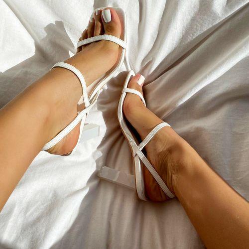 SONIA X FYZA Candy White Lizard Print Block Heels