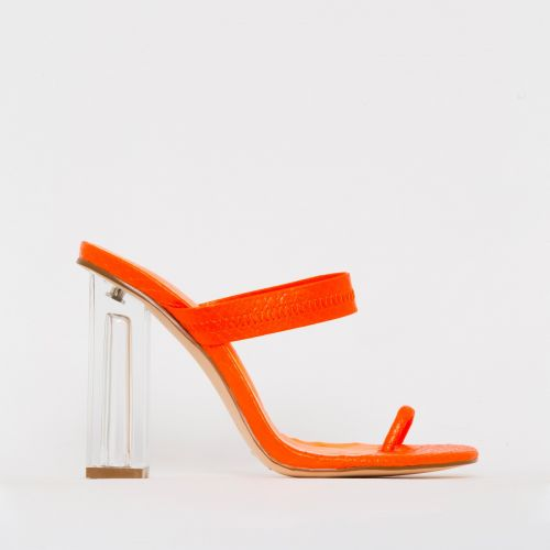 Caris Orange Croc Print Toe Loop Clear Block Heel Mules