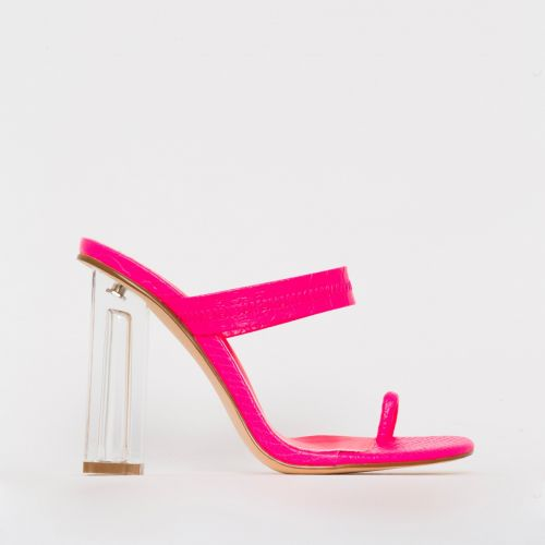 Caris Pink Croc Print Toe Loop Clear Block Heel Mules